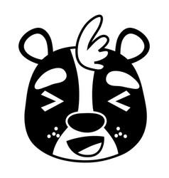 Silhouette cheerful bear head wild animal vector