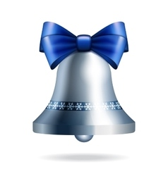 Silver jingle bell with blue bow vector