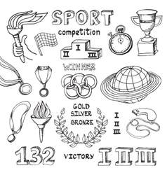 Sport doodlesWinner of the competition set vector image