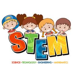 stem education logo banner with kids cartoon vector image