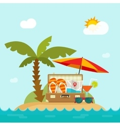 Summertime trip resort island beach concept of vector
