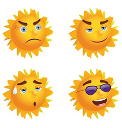 Sun with Different Emotions vector image