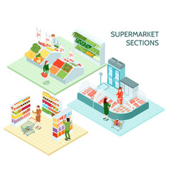 supermarket sections isometric compositions vector image