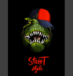 T-rex in red cap hand written street style below vector