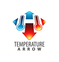 temperature arrow initial letter h logo concept vector image