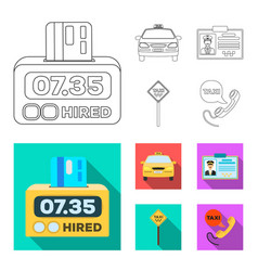 the counter of the fare in the taxi the taxi car vector image