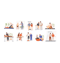 Therapists helping patients during physio therapy vector