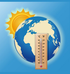 Thermometer on the background of the globe vector