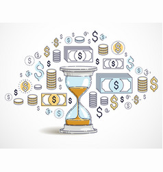 Time is money concept hourglass and dollar icons vector