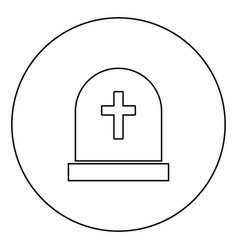 Tomb stone black icon outline in circle image vector