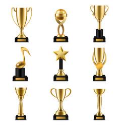 Trophy cup realistic golden cups vector