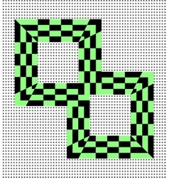 Two squares in black and green cell vector