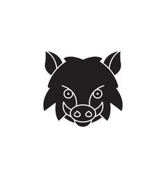 wild boar head black concept icon wild vector image