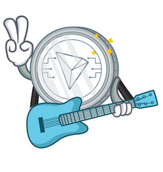 With guitar tron coin character cartoon vector