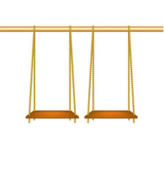 Wooden swings hanging on ropes vector