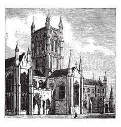 Worcester cathedral vintage vector