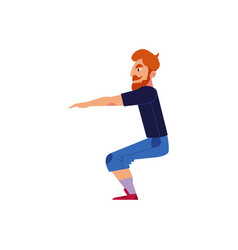 Young man doing exercises and squats isolated vector