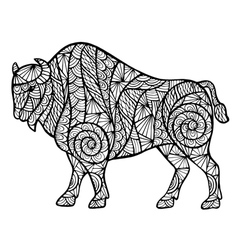 Zentangle stylized buffalo vector