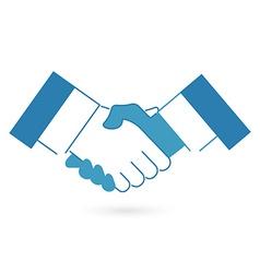 Blue handshake icon flat style vector image