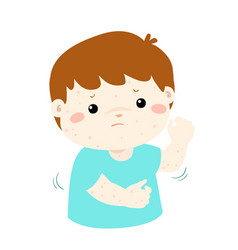 boy scratching itching rash on his body vector image