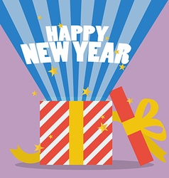 Happy new year with a gift box vector image vector image