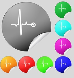 Heartbeat icon sign Set of eight multi colored vector image