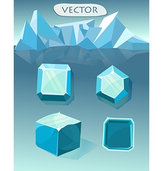 Set of blue crystal ice vector image