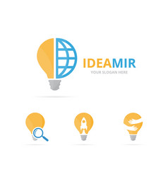 set of lamp logo combination lightbulb and world vector image vector image