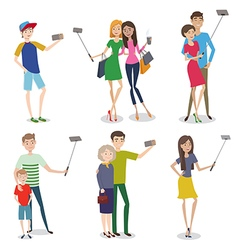 Set of people making self photo using a smartphone vector image vector image