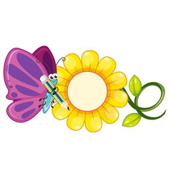 Butterfly with purple wings and yellow flower vector