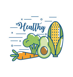 delicious healthy organic food nutrition vector image