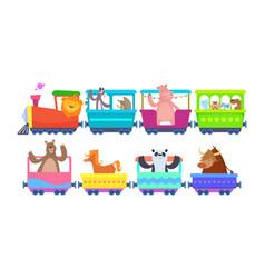 Funny cartoon animals rides in cartoon trains vector
