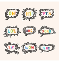 Hand drawn speech bubble set with short phrases Oh vector image