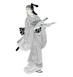 japanese woman in national dress vector image vector image
