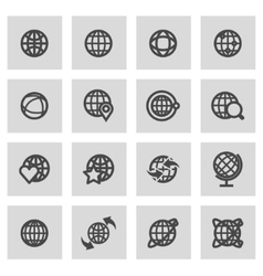 line globe icons set vector image vector image