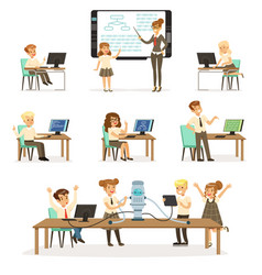 school children at the informatics and programming vector image vector image
