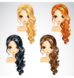 Set of curly long hair vector