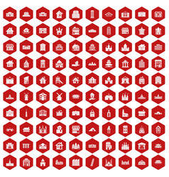 100 building icons hexagon red vector