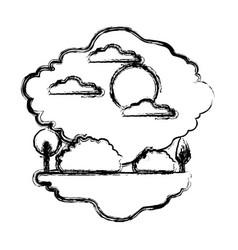 monochrome blurred silhouette scene of natural vector image