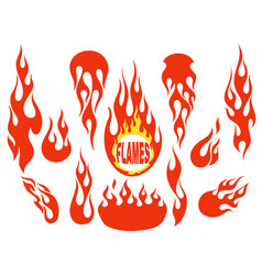 red flame elements set vector image vector image