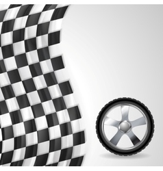 Sport background with wheel and finish flag vector image