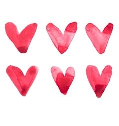 Watercolor aquarelle hand drawn red heart love art vector image