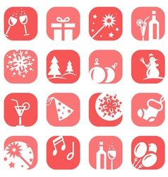 Color christmas icon set vector