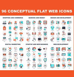 conceptual flat web icons vector image vector image