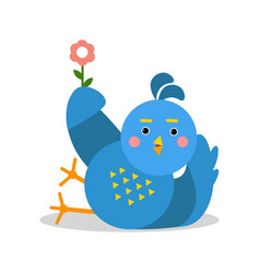 funny blue bird lying and holding flower cartoon vector image
