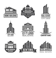 real estate logos and monochrome labels vector image vector image