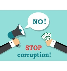 Say no to corruption and bribery vector image