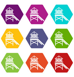 wooden stilt house icon set color hexahedron vector image