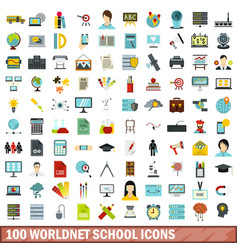 100 worldnet school icons set flat style vector