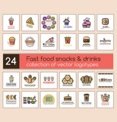 24 logotype for fast and casual food business vector